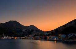 Tramonto di Kastellorizo, isola greca a dodecanese fotografia stock