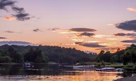 Tramonto di KEN Scozia del lago Fotografia Stock