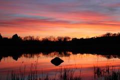 Tramonto di Lakeside Fotografia Stock Libera da Diritti