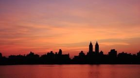 Tramonto di Manhattan Fotografie Stock Libere da Diritti
