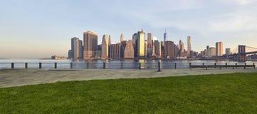 Tramonto di Manhattan sull'erba Fotografie Stock Libere da Diritti