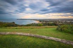 Tramonto di Mona Vale Headland con esposizione lunga, Mona Vale, NSW, Au Fotografie Stock Libere da Diritti