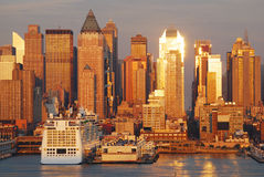 Tramonto di New York City Manhattan Fotografia Stock Libera da Diritti