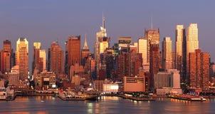 Tramonto di New York City Manhattan Immagine Stock Libera da Diritti