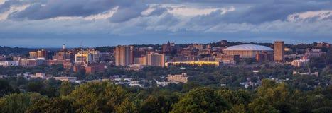 Tramonto di New York della collina dell'università di Syracuse Fotografie Stock