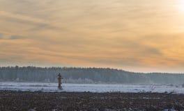 Tramonto di orario invernale sopra il prato Fotografia Stock