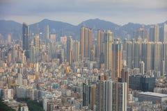 Tramonto di paesaggio urbano di Hong Kong Fotografia Stock Libera da Diritti