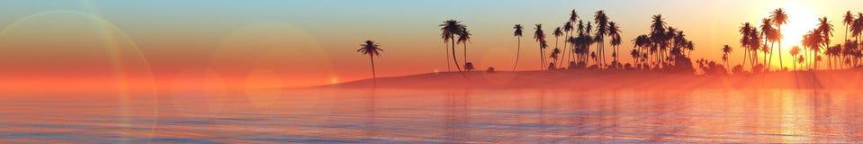 Tramonto di panorama sopra un'isola tropicale Fotografie Stock Libere da Diritti