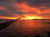 Tramonto di pesca Fotografia Stock Libera da Diritti
