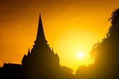 Tramonto di Pgoda della siluetta Fotografie Stock