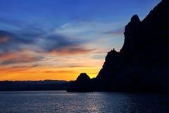 Tramonto di San Antonio Javea Xabia del capo dal mare Immagini Stock