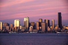 Tramonto di Seattle Fotografie Stock Libere da Diritti