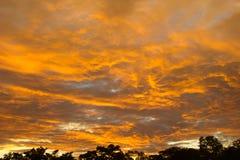 Tramonto di sera nei toni arancio e gialli immagini stock libere da diritti