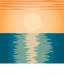 Tramonto di sera sul mare Illustrazione Vettoriale
