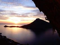 Tramonto di sogno degli scalatori in kalymnos Immagini Stock Libere da Diritti