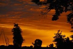 Tramonto di technicolor della nuvola del cielo di sera della natura Fotografia Stock