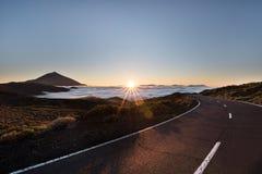 Tramonto di Teide del supporto Fotografia Stock
