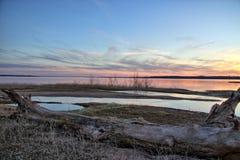 Tramonto di Texoma del lago Fotografia Stock