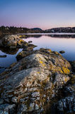 Tramonto di Troldhaugen, Norvegia, Bergen immagini stock