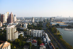 Tramonto di vista di paesaggio urbano di Bangkok Fotografia Stock