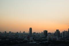 Tramonto di vista di paesaggio urbano di Bangkok Fotografie Stock Libere da Diritti