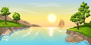 Tramonto di vista sul mare con la nave illustrazione di stock