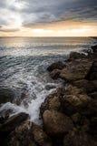 Tramonto di vista sul mare di Aramoana Immagine Stock