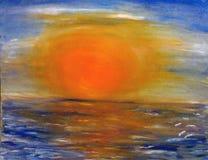 Tramonto dipinto sopra il mare con un grande grande sole arancio illustrazione vettoriale