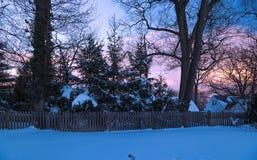 Tramonto dopo una tempesta della neve Immagine Stock Libera da Diritti