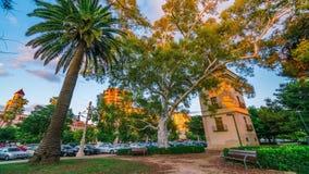 Tramonto dorato ed ombre uniformemente di scomparsa dalla costruzione Dintorni del parco di Turia valencia stock footage