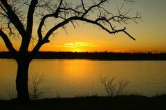 Tramonto dorato sopra il lago Immagine Stock