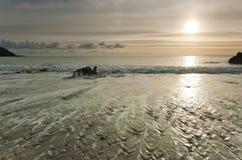 Tramonto dorato sopra la spiaggia Fotografie Stock
