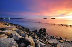 Tramonto drammatico alla spiaggia Fotografia Stock Libera da Diritti