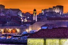 Tramonto a Dubrovnik, Croatia Fotografia Stock Libera da Diritti