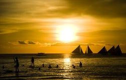 Tramonto e barche a vela Fotografia Stock Libera da Diritti