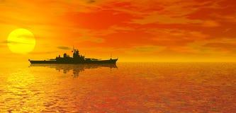 Tramonto e nave da guerra dell'oceano Immagine Stock Libera da Diritti