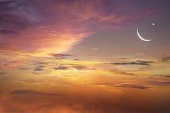 Tramonto e nuova luna Fotografia Stock Libera da Diritti