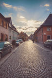 Tramonto in Endingen, piccola città tedesca in alpi sveve Fotografie Stock