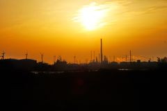 Tramonto Europoort Rotterdam Paesi Bassi Immagini Stock