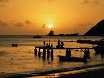Tramonto fantastico nel mare caraibico immagini stock
