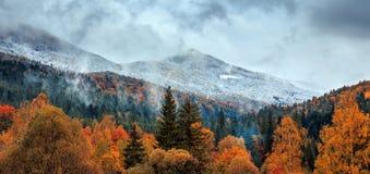 Tramonto fantastico nel paesaggio delle montagne l'annuvolamento si rannuvola la foresta di autunno con neve Fotografia Stock Libera da Diritti