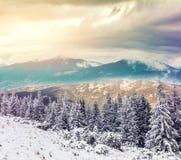 Tramonto fantastico nel paesaggio delle montagne Priorità bassa di inverno fotografie stock libere da diritti