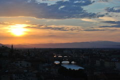 Tramonto a Firenze Immagini Stock