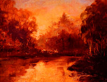 Tramonto in foresta sul fiume, pittura a olio su tela, illustrazione Fotografia Stock