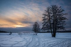 Tramonto freddo Fotografie Stock