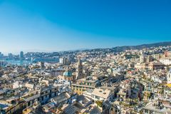 Tramonto a Genova, Italia fotografie stock
