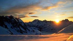 Tramonto in ghiacciaio di Tasman Immagine Stock