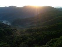 Tramonto giapponese della montagna Immagine Stock Libera da Diritti