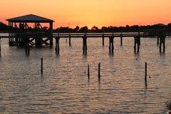 Tramonto in golfo del Messico Fotografie Stock