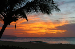 Tramonto hawaiano Fotografie Stock
